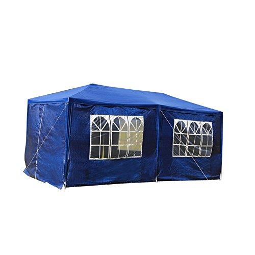 SAILUN® 3 x 6 m Blau Gartenpavillon Gartenzelt Bierzelt Pavillon, Wasserdicht PE Plane, inklusive 6 Seitenwände, 4 x Fenster, 2 x Tür mit Reisverschluss