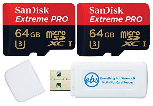 SanDisk 64GB Micro SDXC Memory Card Extreme Pro (2 Pack) Works with GoPro Hero 9 Black Action Camera U3 V30 4K Class 10 (SDSQXCY-064G-GN6MA) Bundle with 1 Everything But Stromboli TF & SD Card Reader