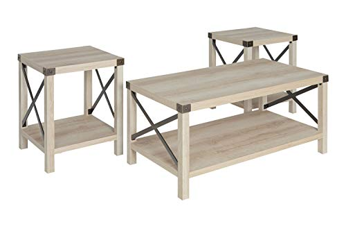 wood and metal coffee table sets - 3