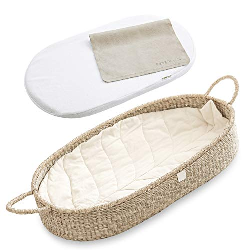 Bebe Bask Premium Baby Changing Basket - CPSC Safety Compliant - Organic Seagrass Moses Basket - Luxury Leaf Liner - Thick Bamboo Pad - Vegan Leather Baby Changing Mat - Trendy Baby Shower Gift