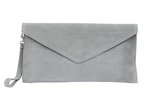 AMBRA Moda Damen Wildleder Clutch Abendtasche Partytasche Handschlaufe Suede Handgelenktasche Schultertasche Umhaengtasche Unterarmtasche Damentasche Veloursleder WL801 (Grau)