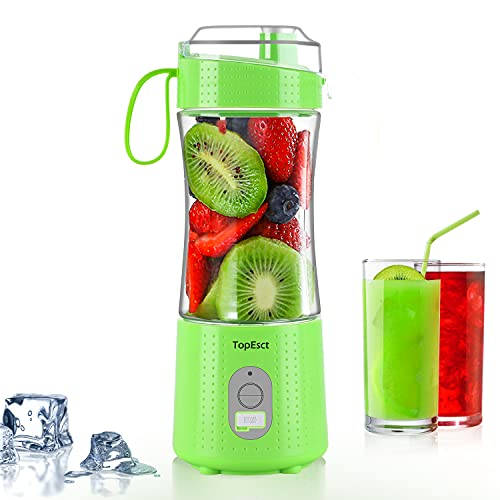 Portable Blender, TOPESCT Mini Blenders for Smoothies and Shakes, Personal Fruit Mixer Machine 13oz USB Rechargeable Juicer Cup, Six 3D Blades for Great Mixing
