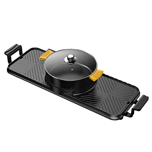 Affordable WWYM Electric Grill Hot Pot, Household Non-Stick Smokeless Barbecue Machine, Separate Dual Temperature Control, Easy to Clean, for More Than 6 People,A