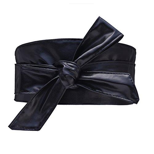 Cityelf Cinturon de Cuero sintetico de la correa de cintura para Mujer los vestidos Ancho Amplia Cintura Cinturón (Negro)