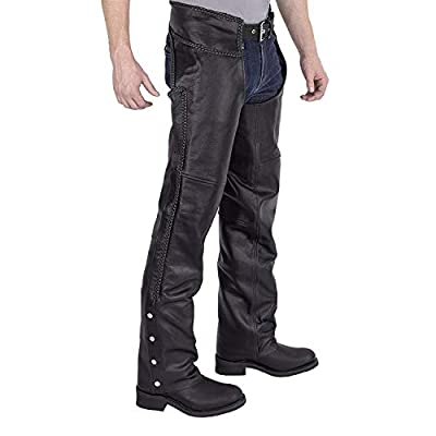 Viking Cycle Men's Braided Motorcycle Leather Chaps (XXXX-Large)