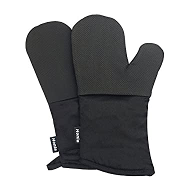 Neoprene Oven Mitts - Heat Resistant to 500° F,1 Pair of Non-Slip Kitchen Oven Gloves for Cooking,Baking,Grilling,Barbecue Potholders,Black - Honla
