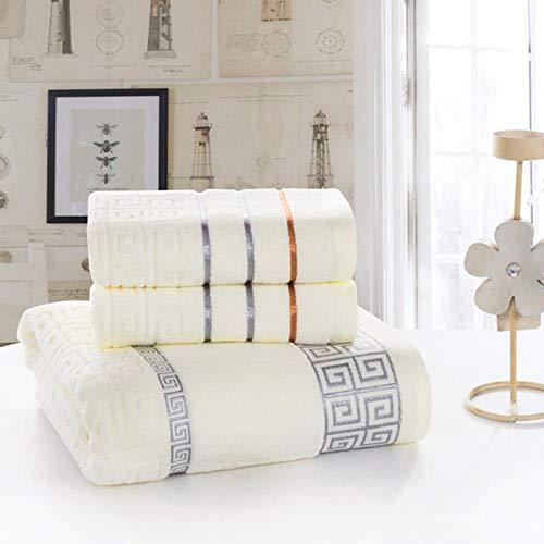Gbcyp 3 stks/set handdoek set kant grens borduurwerk katoenen zakdoek + washandje + badhanddoeken badstof voor volwassenen, schrijven