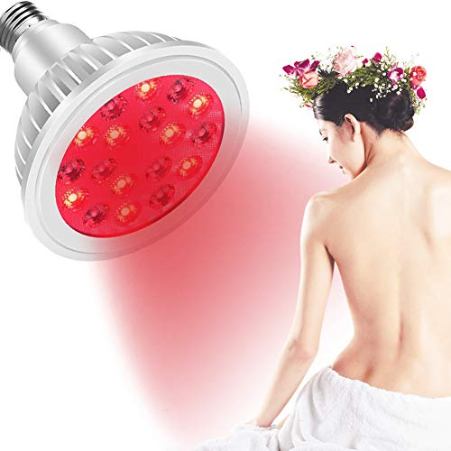 EFGSbed Rotlichtlampe, Beauty- Lights Ständer Dabei, 18 LED Rote Gluhbirn Zur Linderung Von Muskelschmerzen, 660 Nm Und 850 Nm Im Nahen Infrarot, Für Weihnachten Geschenk,Light Bulb