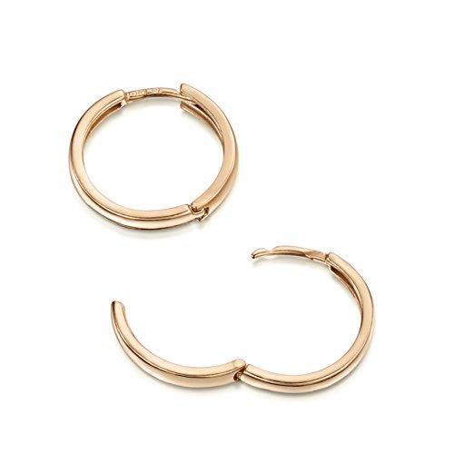 Amberta® 925 Sterling Silber Roségold 14K Edle Ringe mit Scharnierbügel – Kleine Runde Klapp-Creolen Ohrringe - Durchmesse 20 mm