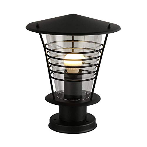 KAUTO Nordic Simple Black Stainless Steel Garden Lawn Lantern Waterproof IP65 Acrylic E27 Pillar Column Light Villa Fence Balcony Pole Lamp Outdoor Landscape Decor External Post Lighting