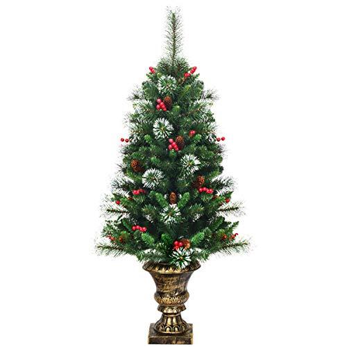 COSTWAY 120cm Künstlicher Weihnachtsbaum im Topf, schneebedeckter Tannenbaum mit Kiefernzapfen & Roten Beeren, Christbaum 193 Spitzen PVC Nadeln, Kunstbaum Weihnachten für Eingangsbereich, grün