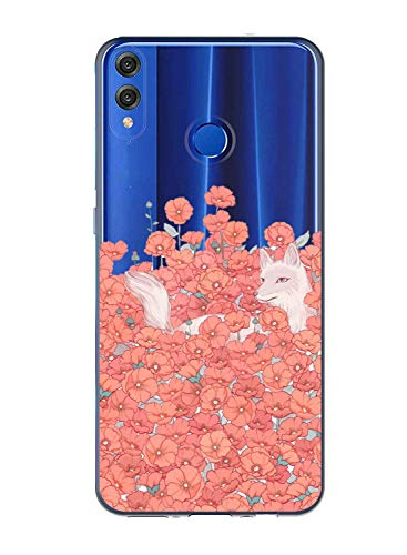 Oihxse Case Transparente Suave TPU Compatible con Huawei P Smart 2019/Honor 10 Lite Funda [Lindo Caricatura Flor Serie Dibujos] Cristal Protector Carcasa Anti Rasguños Bumper Cover-Zorro Flor