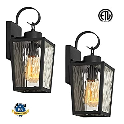 MOTINI 2 Pack Outdoor Wall Lantern Lamp 1 Light Exterior Wall Sconce Light in Black Finish with Water Ripple Glass Shade for Porch, Doorway, ETL