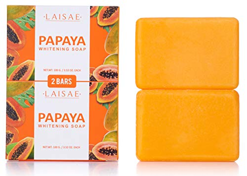 Papaya Whitening Soap - Natural Lightener - Help Exfoliates & Cleanses Body-Facial - Eliminates Acne Scars, Age Spots, Discoloration & Fine Lines -Suitable For All Skin Types (2 Bars/3.52 Oz)