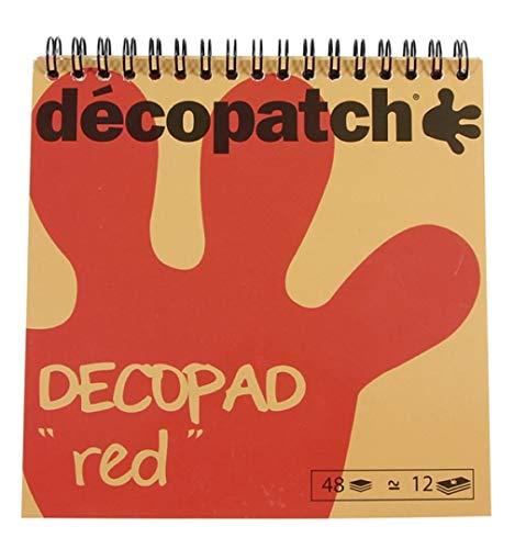 Décopatch BLOC03O Décopad Block (praktisch und einfach zum Verwenden, 48 Blatt, 12 verschiedenen Motiven, 15 x 15cm, ideal für Ihre Pappmachés und Bastelprojekte) 1 Block rot