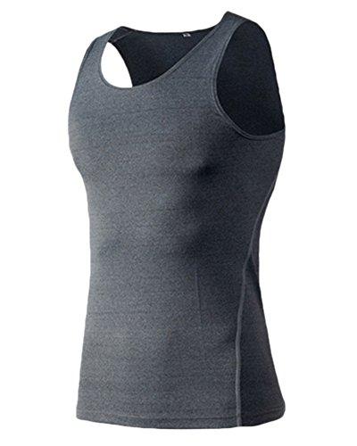 ZongSen T-Shirt sans Manches Gilet de Compression Fitness Hommes séchage Rapide entraînement Sportif Gris L