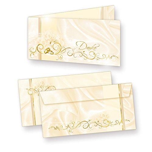 Danksagungskarten Hochzeit PERLMUTT (20 Sets) sehr elegante Dankeskarten für Hochzeit, inkl. Dreieckstaschen für Ihr Hochzeitsbild