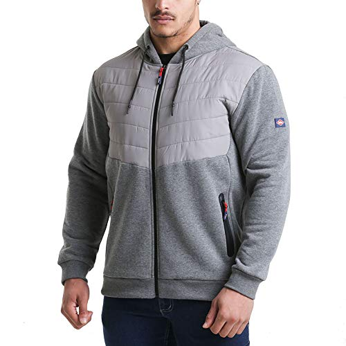 Lee Cooper Odzież robocza męska pełny zamek termiczna odzież robocza z zamkiem błyskawicznym pikowana bluza z kapturem kurtka płaszcz, szary marmur, M
