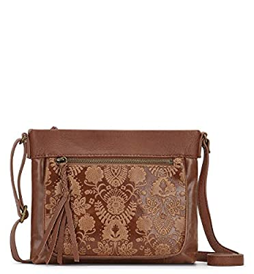 The Sak Women's The Mini Sanibel Crossbody Cross Body, Tobacco Floral Emboss