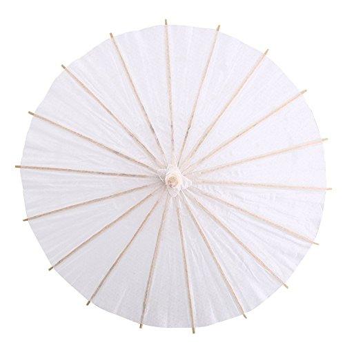 Witte kleur Papier Paraplu DIY kunst ambachten voor de zomer zon schaduw Bruiloft Partij Decoratie Bruidsfoto Accessoire Cosplay Prop Decor foto 60cm