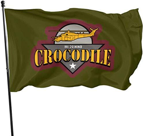 Eriesy Jardín Banderas,Bandera MI-24 Hind Crocodile Flag 3' X 5' Ft Outdoor Flags Banner Breeze Flag