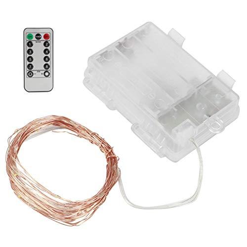 Cadena de luz LED romántica resistente al agua de alambre de cobre con control remoto ajustable para boda(warm light)