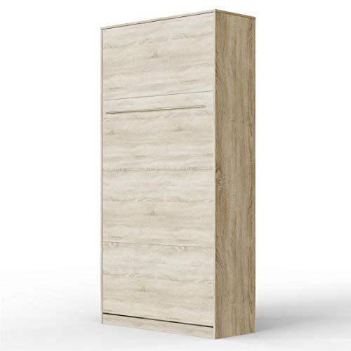 SMARTBett Standard 90x200VertikalEiche SonomaKomfort Lattenrost Schrankbett| ausklappbares Wandbett, ideal geeignet als Wandklappbett fürs Gästezimmer, Büro, Wohnzimmer