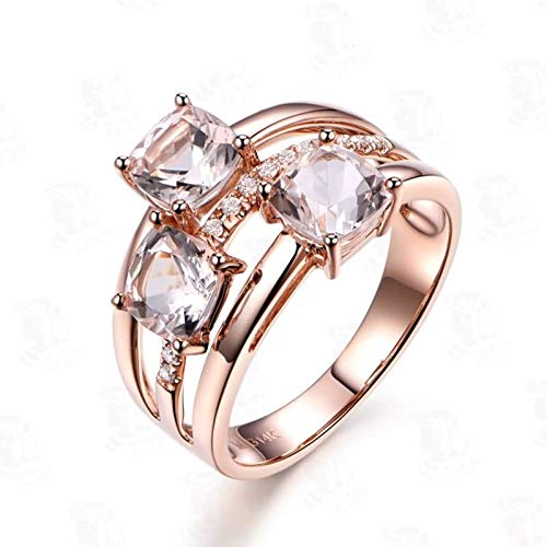Bishilin Frauen Ring Rotgold 750 Echt Kissen Morganit 1.19ct Eheringe Nickelfrei Hochzeitsring Rosegold Diamant 56 (17.8)