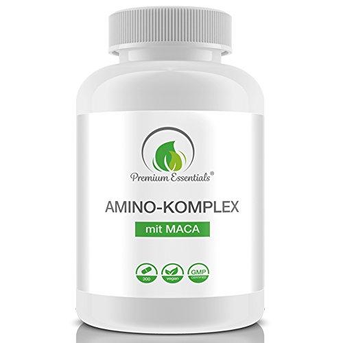 Amino-Komplex + Maca, 300 Tabletten á 1000mg (Vegan), Alle 18 Aminosäuren inkl. aller 8 essentiellen Aminosäuren, ergänzt mit Maca, Muskelaufbau und Erhalt
