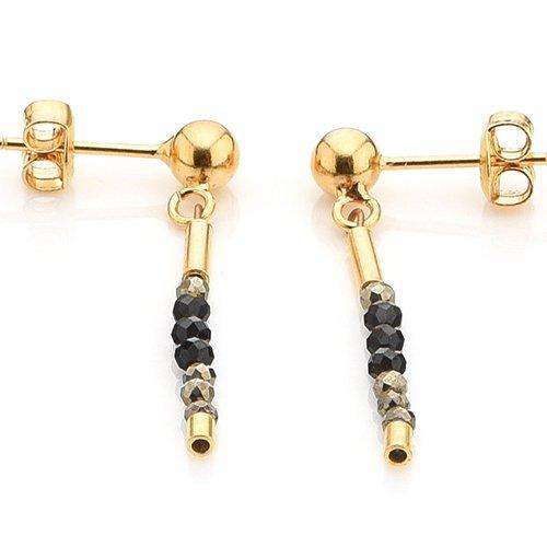 Spinell Ohrstecker hochwertige Goldschmiedearbeit aus Deutschland (Sterling Silber 925, vergoldet) Damen Ohrringe mit Wert Expertise