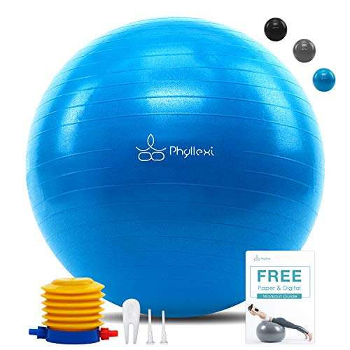 PHYLLEXI Exercise Ball (55-85cm) Extra Thick Yoga Ball Chair-Pro Grade Anti-Burst Heavy Duty Stability Ball Supports 2200lbs, Birthing Ball with Quick Pump for Office & Home & Gym(Blue 55cm)