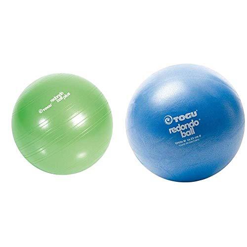 Togu Plus Das Original Gymnastikball Pilates Ball Trainingsball Übungsball, grün, 38 cm Durchmesser & Redondo Ball 22 cm Gymnastikball Pilatesball, blau