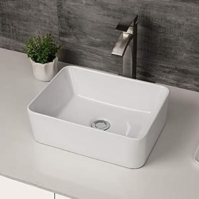 "Rectangle Bathroom Sink - Logmey 16""x12"" Bathroom Sink Above Counter White Vessel Sink Rectangle Ceramic Bathroom Vessel Vanity Sink Art Basin"