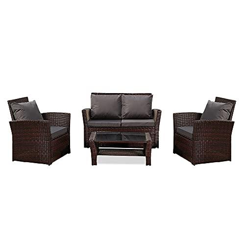 'N/A' Conjunto de sofá de ratán gris oscuro cojín marrón degradado ratán conjunto de cuatro piezas sofá impermeable al aire libre