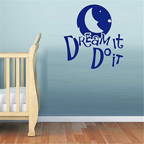 Stickers Muraux Bebe Disney Dream Word Inscription Quote Phrase Moon Star For Nursery Kids Room