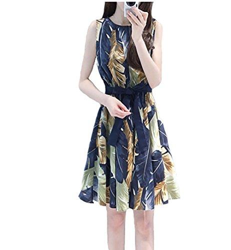 KEIMI綿麻 カジュアル ノースリーブ ワンピース ドレス 花柄 レディース きれいめ エレガント デザイン (M)