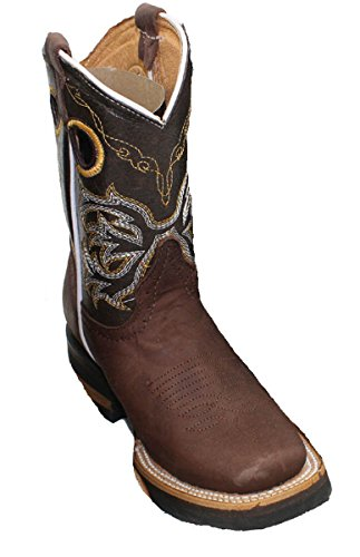 Kid'stoddler Cowboy Boots Leather Square Toe Rodeo Unisex Western Boots_Brown_1