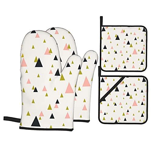 Con triángulos en color rosa pastel, dorado y gris oscuro, resistentes al calor, guantes antideslizantes a prueba de horno y soportes para ollas para el hogar, cocina, horno y microondas