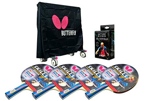 Butterfly Outdoor Table Tennis Accessory Pack - Cover, 4 Skill Bats And Balls