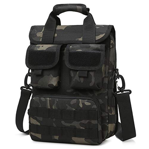 Selighting Tactical Briefcase Military Small Laptop Computer Shoulder Messenger Bag Heavy Duty Engineers Handbags with Shoulder Strap (Camo Black - 13.4' x 4.7' x 10.2')