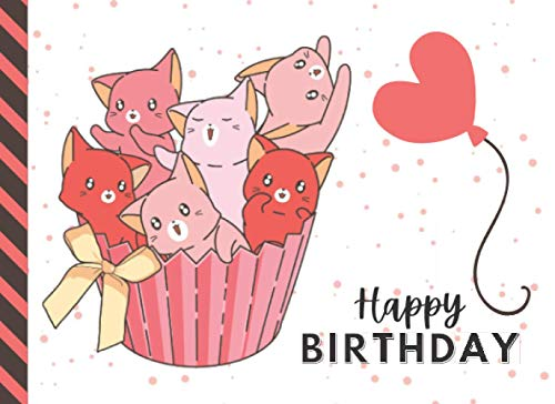 Happy Birthday: Pink Red Kitty Cat Cupcake Theme / Blank Birthday Coupon Book / 50 Empty Voucher Templates in Booklet / Fun Creative Gift Idea for Kids Tweens Teens