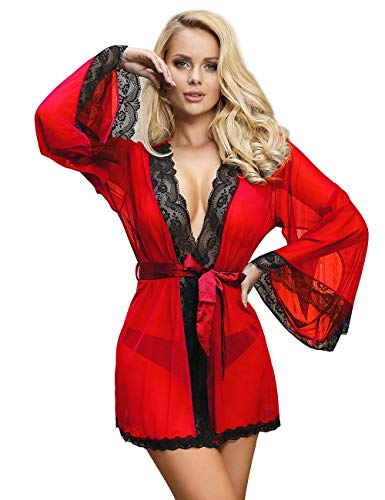 comeondear Mujer Bata Kimono de Encaje Transparante Ropa de Dormir Babydoll Talla Grande(Rojo, XS-S)