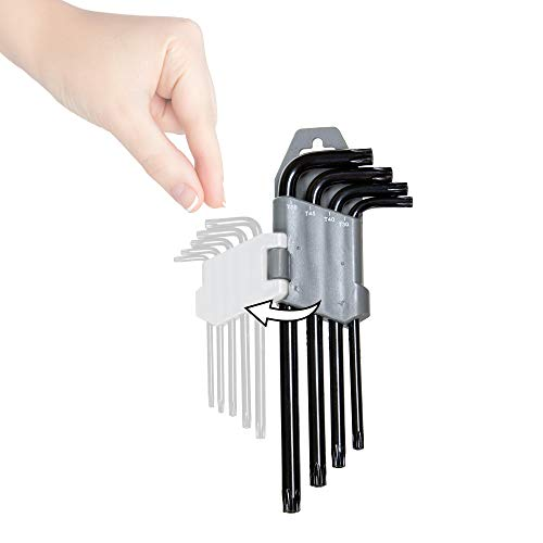 Torx Wrench and Security Bit Wrench Set (18 Wrenches) 9 Standard Torx Star Wrenches and 9 Security Tamper Proof Torx Wrenches