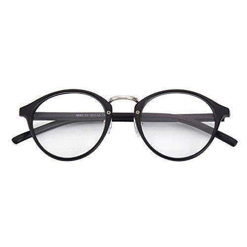 CGID CN65 Retro Anteojos Lente Claro Gafas Para Mujer y Hombre,Mate Negro