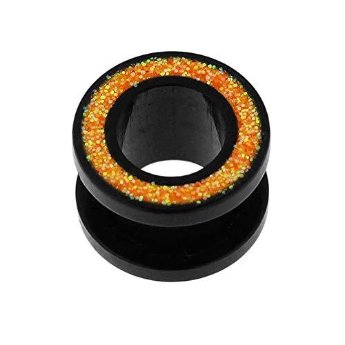 Monster piercing kleurrijke glitter inlay op zwart uv-acryl flesh tunnels gauge oor plug