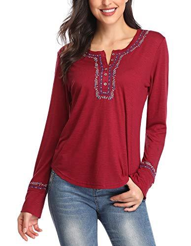 Camiseta de Manga Larga para Mujer Top Bordado con Cuello en O (XL, Vino Rojo)