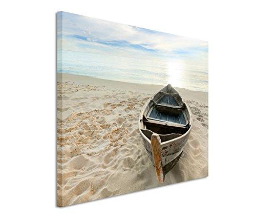 Eau Zone GmbH Kunstdruck auf Leinwand 120x80cm Landschaftsfotografie – Einsames Boot am Sandstrand