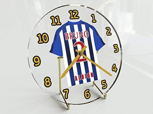 MyShirt123 - Orologio da tavolo con divisa di calcio con qualsiasi nome, numero e squadra Sky Bet, squadre dalla I alla W