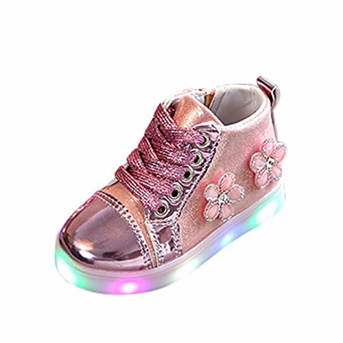 MEIbax Schuhe Baby,Blume Zip Kristall LED leuchten leuchtende Turnschuhe Schuhe,Baby Sneakers Mädchen LED Leuchtschuhe Turnschuhe Sport Running Baby Schuhe