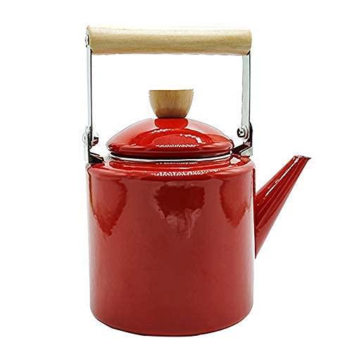 SGSG Novel Emaille Teekanne Teekannen Kaffeekannen Dicker Emaille Wasserkocher 2L Blumen Teekanne Jugenameled Wasserkocher Emaille Wasserkocher